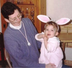 Barb, all grown up, with her daughter, Sarah, on her first Easter...
