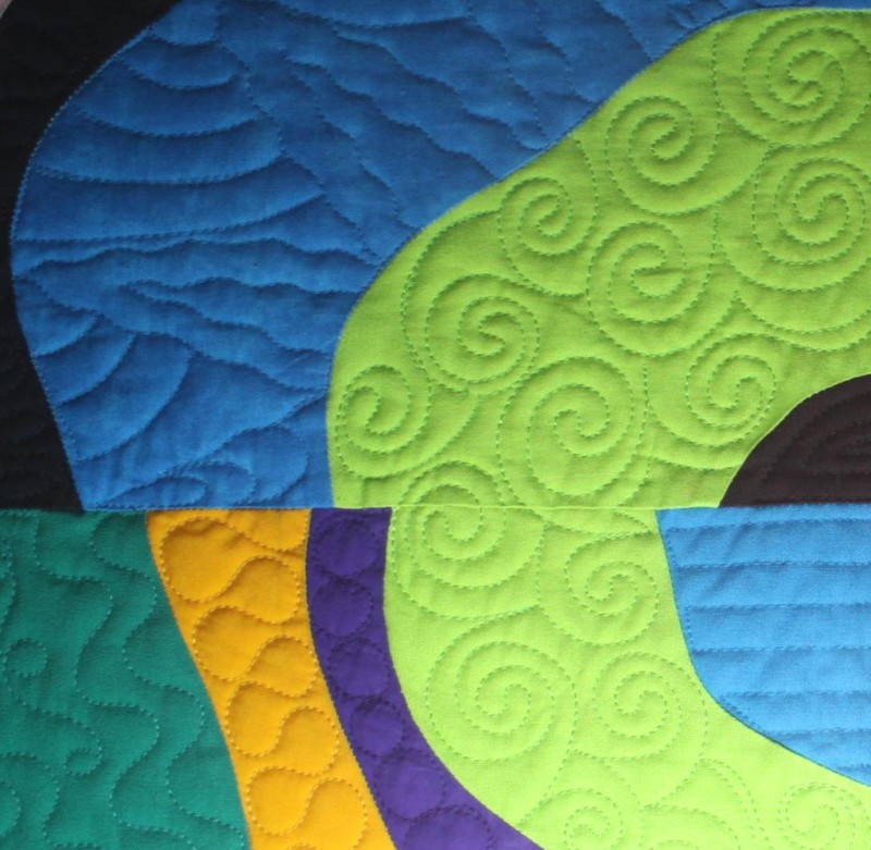 Kari Ruedisale's quilting in one of the Bull's Eye quilts