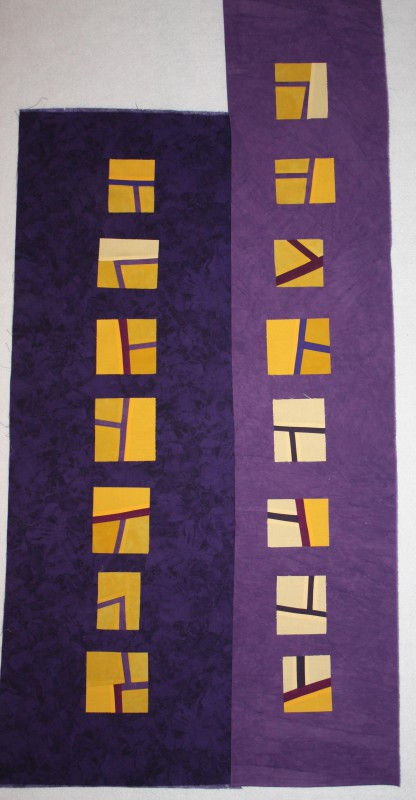Same wide chunks of purple fabrics, but creating a modern vibe with straight set blocks
