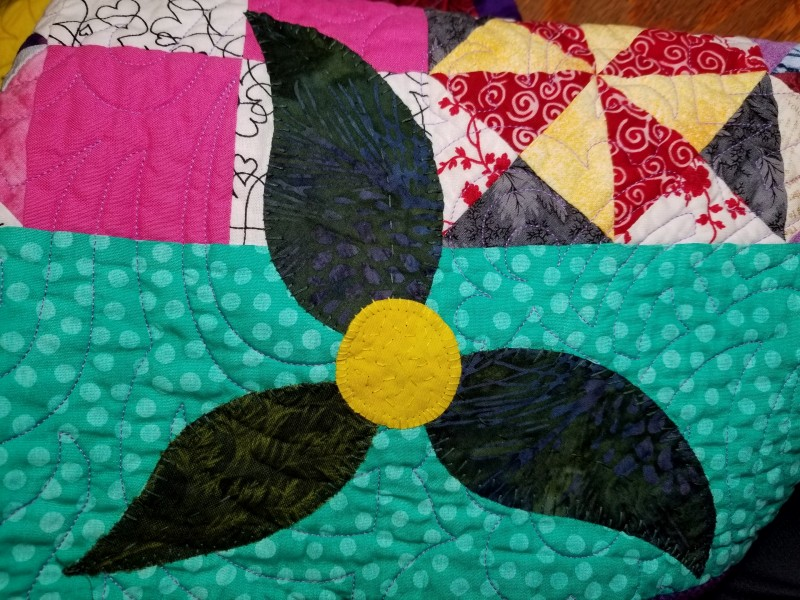 I do not often hand applique on a finished quilt, but I like how these turned out.